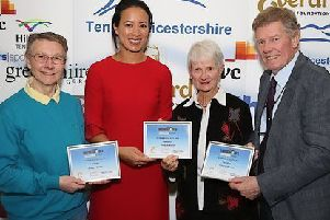Margaret (left) and Maggie receive their certificates from Anne Keothavong and Mark Cox