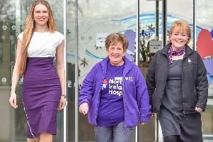 Former Blue Peter presenter and model Zoe Salmon, Olivia Nash, NI Hospice vice president and Hospice Nurse Specialist Ursula Mallon launch this year's Hospice Walk.
