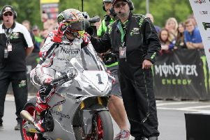 John McGuinness completed a parade lap on the Norton SG7 at last year's Isle of Man TT.