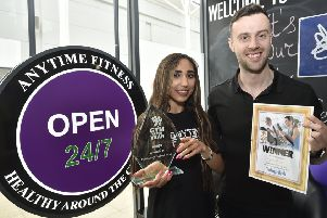 Gym of the Year winners  Ruby Parvez and Tom Fletcher at Anytime Fitness EMN-190204-173421009