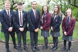 The Senior Prefect team for 2019/20 at Larne Grammar School. Head girl Jenna McCarlie and head boy Matthew Clenaghan will be assisted by Luke Clarke, Jamie Maybin, Abigail Park and Courtney Murray.