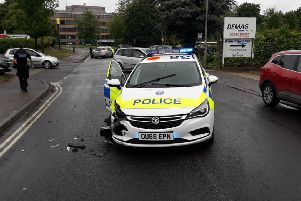 A police car was in a crash with a driver who failed to stop for officers. Photo: Thames Valley Police/Twitter NNL-190613-154535001