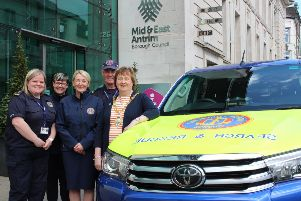 Mayor Cllr. Maureen Morrow welcomed CRS representatives to the Braid in Ballymena recently. Pictured L-R is Sharon Gibson, CRS Regional Fundraising Officer; Lisa Kirkwoord, CRS Support Team Member; Andrea Tolton, CRS Support Team Officer; Norman Worthington, District Commander of CRS Central and Cllr Mayor Maureen Morrow.