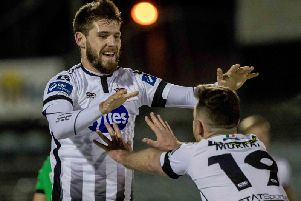 Stephen Folan celebrates scoring for Dundalk last year.