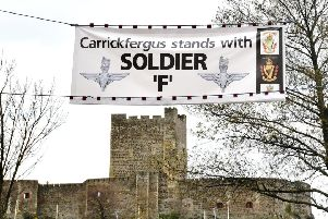 'Soldier F' banner in Carrickfergus, Co Antrim