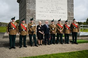 The ceremony was held in the shadow of the monument overlooking Greenisland.