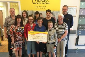 The sum of �1,292.83 was presented to the Friends of the Cancer Centre recently by the McManus family from Larne. The sum was raised through the 'Memorial Scawt Walk' in memory of John (Sean) McManus.