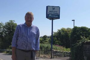 East Antrim MP Sammy Wilson at Ballycarry railway halt.