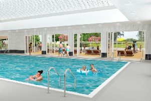 Image of swimming pool at the new proposed Abbey Fields facility, which includes the bi-fold doors opening up onto a sun terrace.