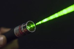 The laser was shone from the Larne area.