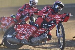 Scott Nicholls (red), was again a top performer for struggling Panthers at Ipswich