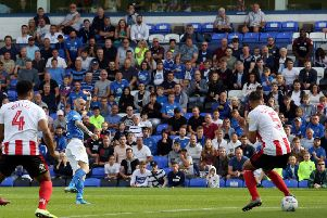 Marcus Maddison of Peterborough United scores his second goal against Sunderland. Photo: Joe Dent/theposh.com.
