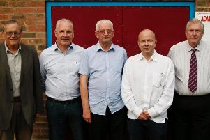 Dave Nessling, Dave Ormerod,  and Tony Cosens pictured with Garry Wilson and Danny Bloor