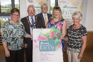 Celebrating success at the Translink Ulster in Bloom 2019 Awards where Ballynure won the Small Village Category, pictured L-R Linda Dodds- Ballynure in Bloom; Alderman John Smyth- Mayor of Antrim and Newtownabbey Borough Council; Dr Mark Sweeney OBE- Translink Board Member; Cllr Frances Burton- President, NI Local Government Association; and Jackie Wells- Ballynure in Bloom.