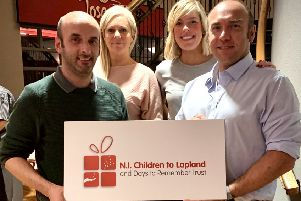 John Rodgers, son of the charity's founder, the late Jack Rodgers MBE; Lynda Mullan, Retail Operations manager, Wineflair, the charity's first ever corporate partner; Nicola Joyce, who has supported the charity's fundraising efforts for many years and Gareth Adams, Jack Rodgers' nephew.