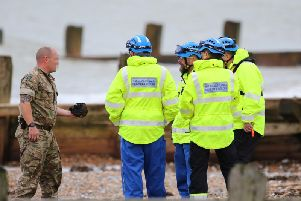 Explosives Ordnance Disposal (EOD) team at Worthing beach