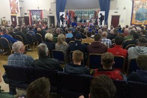 The audience at a meeting at Carleton Street Orange Hall in Portadown to protest against Boris Johnson's Brexit deal, on Wednesday November 20 2019