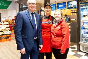 At the newly refurbished SPAR store in Larne  are Ian Mullin, area manager;  Kathy Moore, Greggs manager and Nicola Robinson, store manager