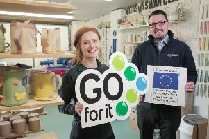 Based in Islandmagee, Natasha Swan Ceramics creates handmade, functional tableware and homeware, inspired by owner Natasha's love for the Northern Ireland countryside.'Natasha is pictured with her business advisor, Alan Hamilton, Carrickfergus Enterprise.