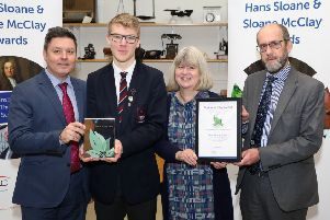 Isaac pictured with Professor Tom Moody and Dr Sally Montgomery of the Hans Sloane Trust. Also included is teacher Andrew Mauger.