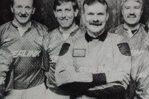 Members of the Larne Golden Oldies seven-a-side team who were beaten by their Ballymena counterparts at the Fun Night  in Inver Park. 1992