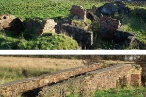 Top: The heavy anti-aircraft battery and (below) the radar platform at Ballyprior Beg, Islandmagee.