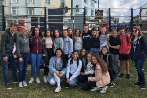 Danish students on Coronation Green in Shoreham during a previous visit