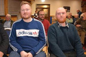 Andrew Leacock and Dean Harkin at the Cairncastle Ulster Scots Burns night celebrations.