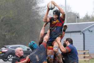 Tom Lane wins a second-half lineout for Leamington. Pictures: Morris Troughton