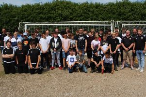 Whitnash Town's junior section with Coventry City's Jordan Shipley. Picture submitted