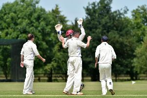 North Crawley celebrate Ian Gillam  trapping Jacobus Barnard LBW.