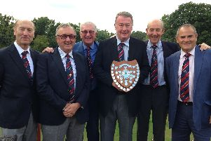 Leightons Rhys Richards trophy winners (left to right): Danny Nairne, Terry Wright, Robbie John, Denis Leitch with the trophy, Dave Roberts and Peter Myrants.