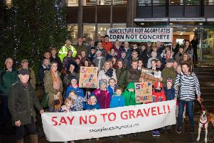 Around 60 people went along to hand over the objections to Warwickshire County Council. Photo by Chris Squire.