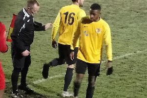 Trea Bertie leaves the pitch to be replaced by Adam Knight after scoring twice in Racers' win over Hinckley AFC.
