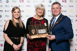 Live Here Love Here manager Jodie McAneaney with Antrim and Newtownabbey Litter Heroes Award winner Rosie Watkins and Mayor of Antrim and Newtownabbey Borough Council Cllr Paul Michael.