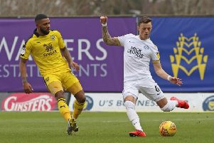 Ben White (right) in action for Posh at Oxford. Photo: Joe Dent/theposh.com.