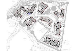 A site plan of the proposed care home at West End Farm, Buckingham