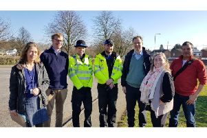 From left, Vanessa Lingley, Cllr Paul Bremner, Local PCSOs, Neil OBrien MP, Diane Cook and Kal Budwal
