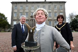 Pictured at the Palace Demesne, Armagh, are Tourism NI Chief Executive John McGrillen and Julie Flaherty, Lord Mayor of Armagh, Banbridge and Craigavon Council with Marcellus Kearney as The Butler