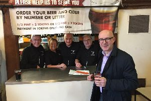 Warwick and Leamington MP with some of the volunteers at the winter beer festival in Warwick. Photo by Warwick Court Leet.