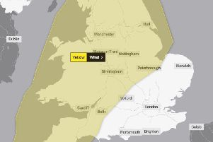 The area covered by the yellow weather warning.