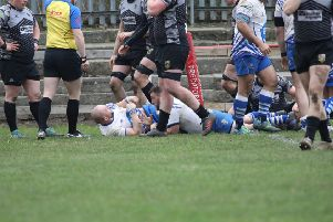 Jack Lewis scores the Lions try at Otley. Picture: Mick Sutterby