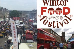 Photos from the Warwick Food Festival in 2018 and CJ's Events Warwickshire's logo for the Winter Food Festival.
