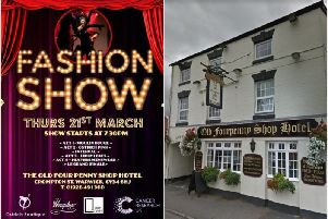 The fashion show poster and the Old Fourpenny Shop Hotel (photo from Google Street View.