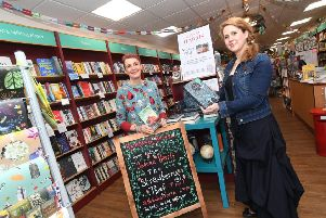 Judy Brook and Tamsin Rosewell inside Kenilworth Books promoting Joanne Harris's new novel 'The Strawberry Thief' and Caroline Lea's new novel 'The Glass Woman'.