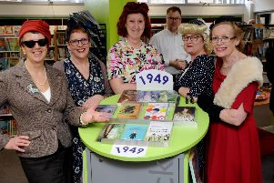 Buckingham Library 70th birthday celebrations. Library staff in 40s costumes. From the left, Sue Duhig, Pam Sirett, Glenys Armstrong, Alison Bone and Pam Gowen. PNL-190321-122536009