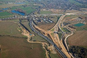 Part of the new Brampton interchange, with the A1 running left to right and the future A14 running over it before rejoining the old A14 at Ellington.