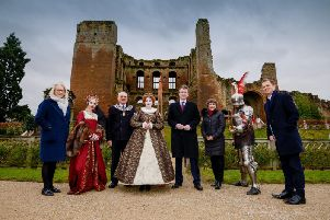 Liz Page, territory director for English Heritage, Michael Hitchins, mayor of Kenilworth, Jeremy Wright, Secretary of State for Digital, Culture, Media and Sport, Helen Peters chief executive for Shakespeares England, Luke Whitcomb, marketing director for English Heritage with costumed actors.