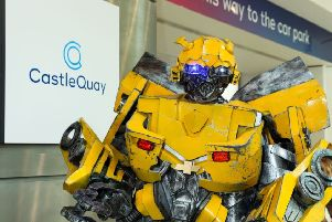 A 2.6m-tall Bumblebee impresses at Castle Quay Shopping Centre NNL-190415-162411001
