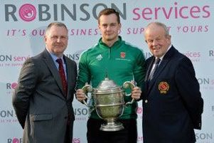 Captain Adam Berry  represented Lisburn Cricket Club at the pre-season photo session for the eight Robinson Services Premier League sides. He's pictured with David Robinson, managing director of Robinson Services, and Richard Johnson, president of the Northern Cricket Union.